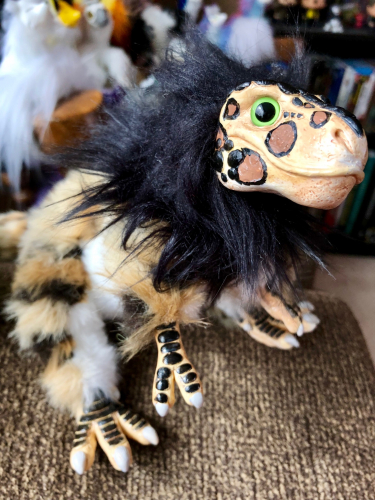 Creature Smith Baby T-Rex Art Doll with Leopard Spots