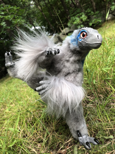 Poseable Art Doll Articulated Velociraptor Blue