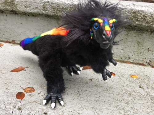 Rainbow Tyrannosaur Posable Art Doll