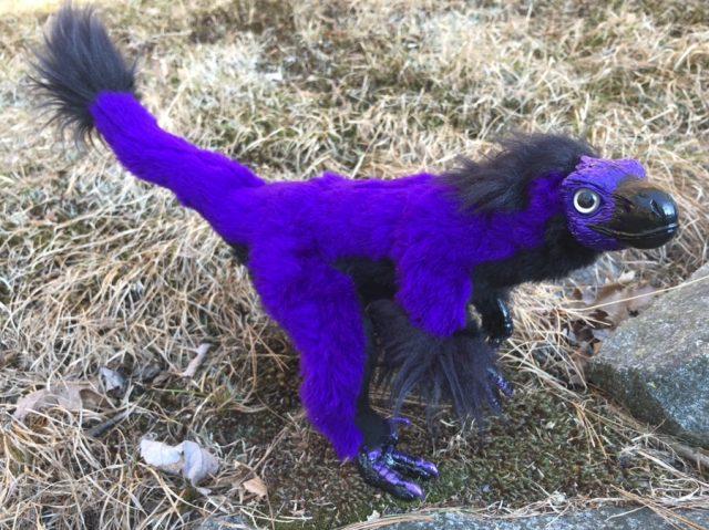 Purple Velociraptor Posable Art Doll