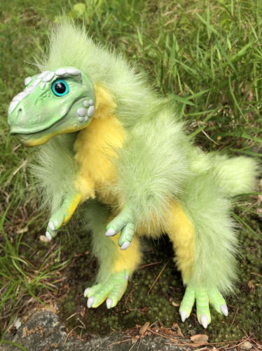 Baby Trex Green Floofy Posable Art Doll