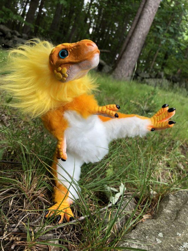 Yellow Baby Dinosaur Art Doll Poseable